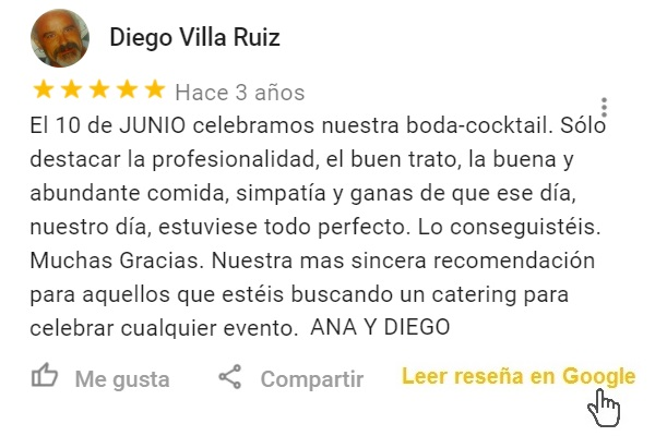 Reseña Google Bodas tipo cocktail